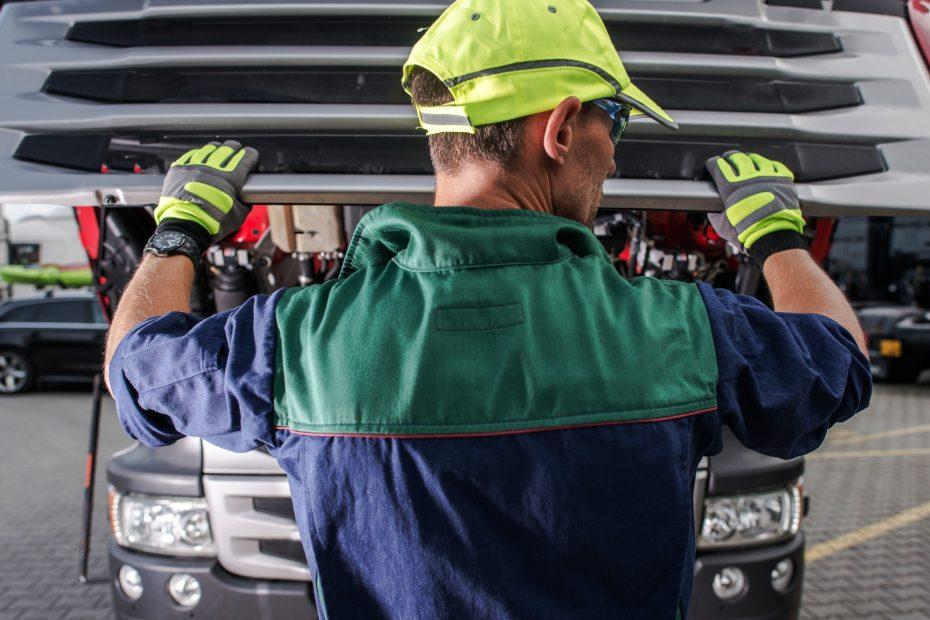 Caucasian Truck Service Worker